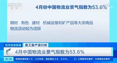 被抑制的需求不斷釋放 4月中國物流業景氣指數較上月回升2.1%