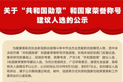 關於「共和國勳章」和國家榮譽稱號建議人選的公示