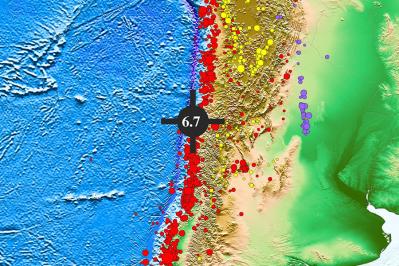 智利中部沿岸遠海海域發生6.7級地震,震源深度為10.0千米
