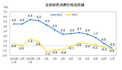 國家統計局:2020年11月CPI同比下降0.5%